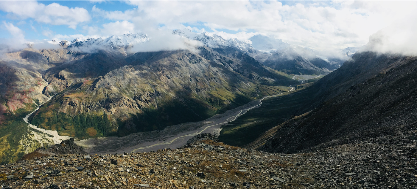 The confluence of waters from the Jarvis and Riley Glaciers looking south towards the Silvertip Mountain in August 2018. PC: A. Liljedahl