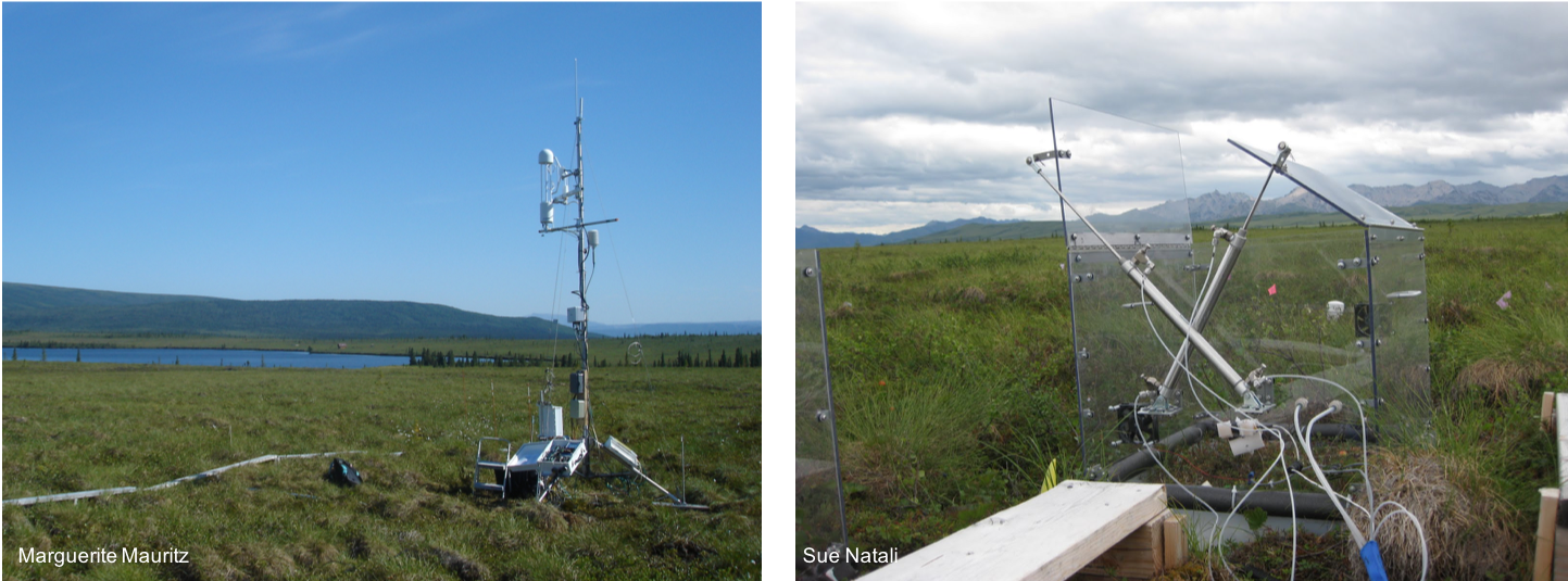 Eddy Tower (left) and Net Ecosystem Exchange Chamber (right)