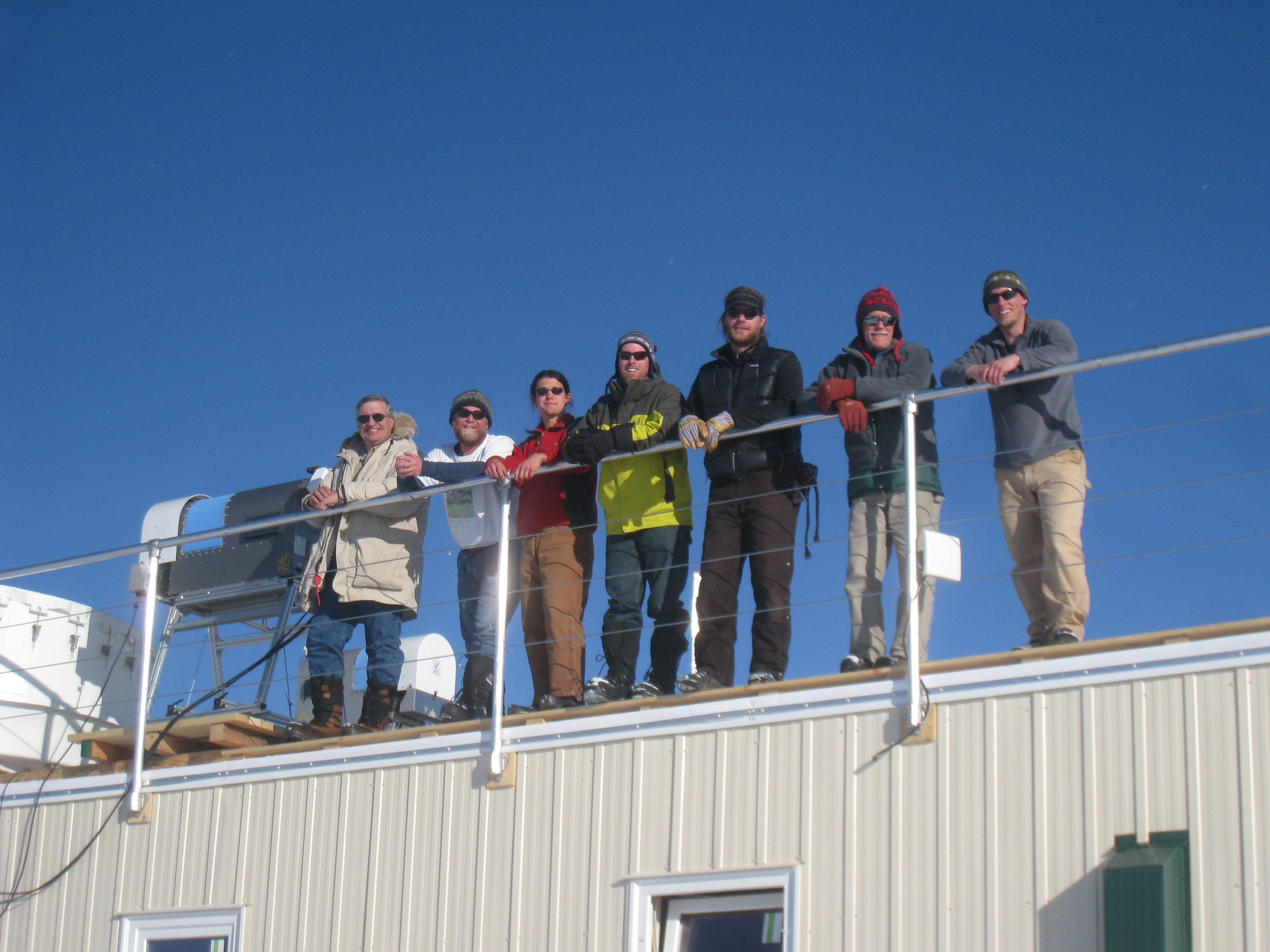 Members of the ICECAPS project team at the station in Summit, Greenland (L-R: Duane Hazen, Michael O'Neill, Ryan Neely, Erik Olson, Matthew Shupe, Brad Halter, and Christopher Cox). Picture Courtesy: Matthew Shupe