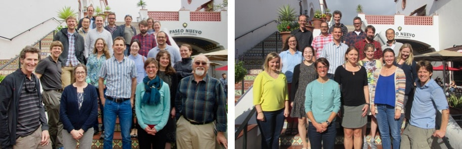 Attending members of the Permafrost Carbon Synthesis Working Group, March 2018 (Left) and October 2018 (Right). Photo Credit: Ginger Gillquist