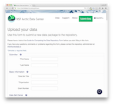 The Arctic Data Center simple online submission form.