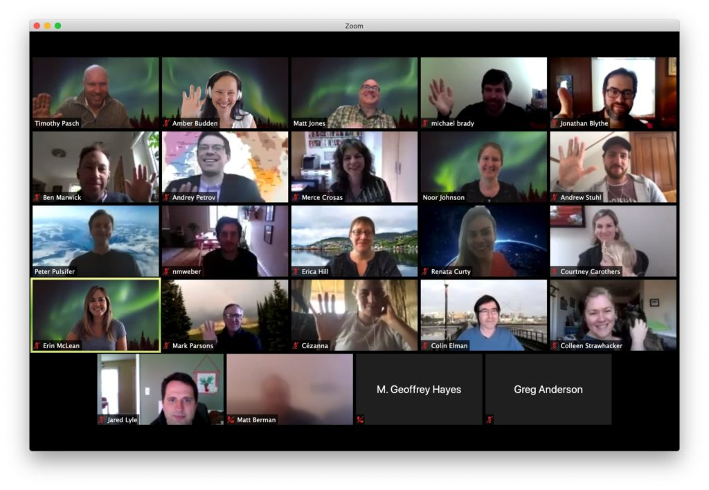 Screenshot of our wonderful participants.